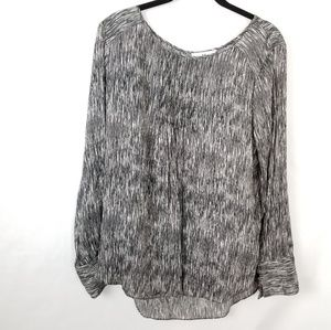 Halston Flowy Black/White Long Sleeve Blouse Lg
